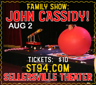John Cassidy is an explosion of color and fun! Bring the whole family to a balloon-shaping, fun-having extravaganza at the Sellersville Theater on August 2, 2018! According to MAGIC Magazine, John is one of the funniest magicians working today and he holds several Guinness World Records for balloon sculpting. He's performed on countless TV shows and at the White House!