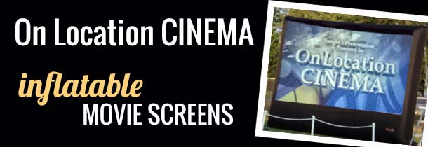 Inflatable movie screens up to 40' complete with HD video projectors for a bright, sharp picture.